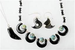 3 PCS OF BLACK CORAL JEWELRY