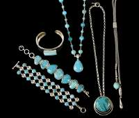 6 PCS SILVER  TURQUOISE JEWELRY