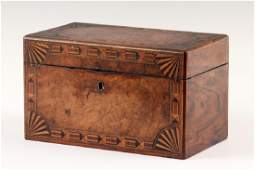 ROSEWOOD  BURL VENEER TEA CADDY