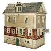 FOLK ART LARGE BUILDER'S MODEL SCALE HOUSE
