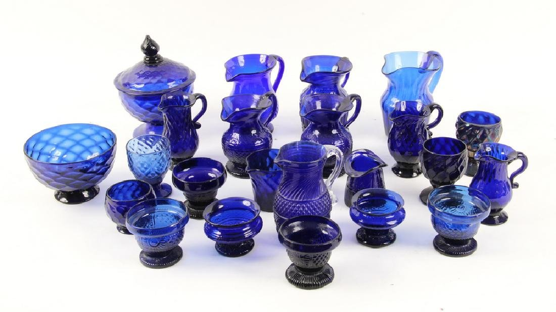 (23) BLOWN COBALT GLASS VESSELS