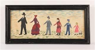 FOLK ART NAIVE PORTRAIT OF A FAMILY