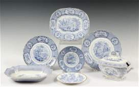 36 PCS ENGLISH BLUE TRANSFERWARE CHINA