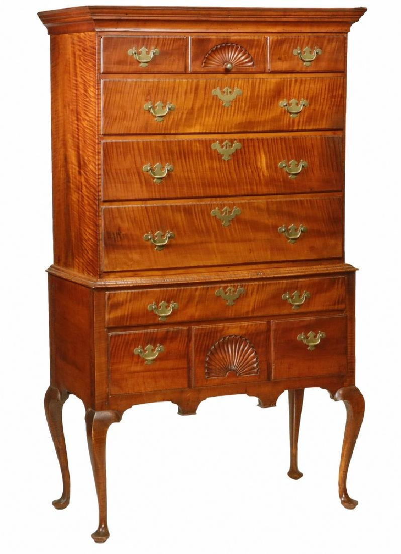 EARLY 18TH C. TIGER MAPLE HIGHBOY