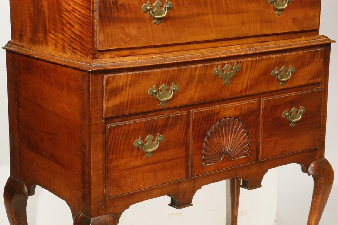 EARLY 18TH C. TIGER MAPLE HIGHBOY - 2