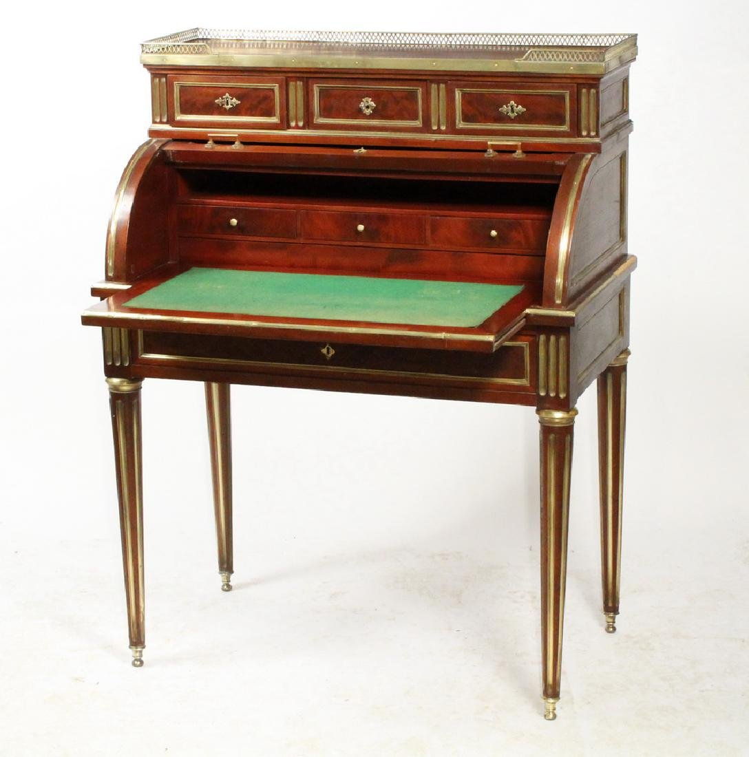 FRENCH BRASS INLAID CYLINDER TOP DESK - 2