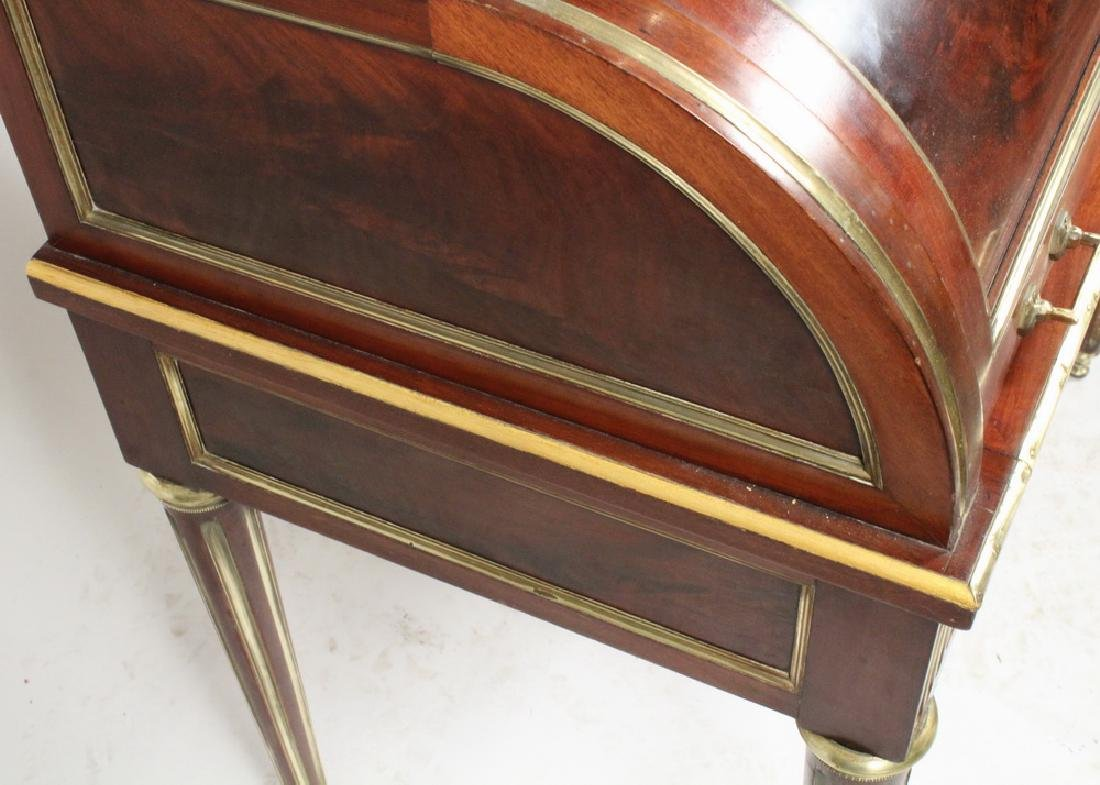 FRENCH BRASS INLAID CYLINDER TOP DESK - 4