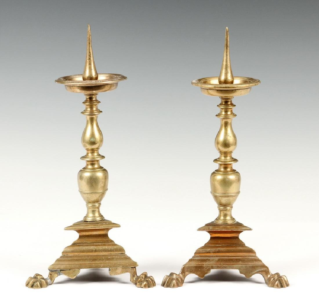 PAIR BRONZE PRICKET CANDLE HOLDERS