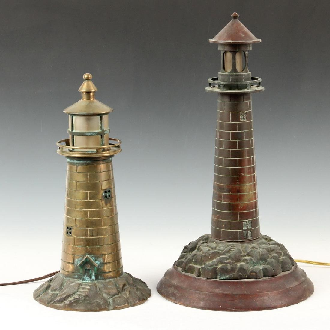 (2) LIGHTHOUSE FORM LAMPS
