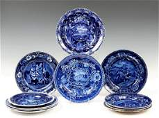 (11) EARLY STAFFORDSHIRE BLUE HISTORICAL PLATES