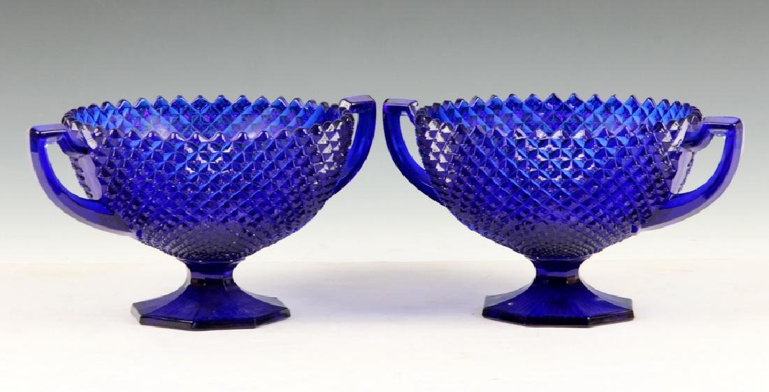PAIR BLUE PRESSED GLASS COMPOTES