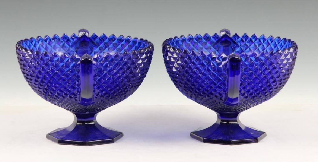 PAIR BLUE PRESSED GLASS COMPOTES - 3