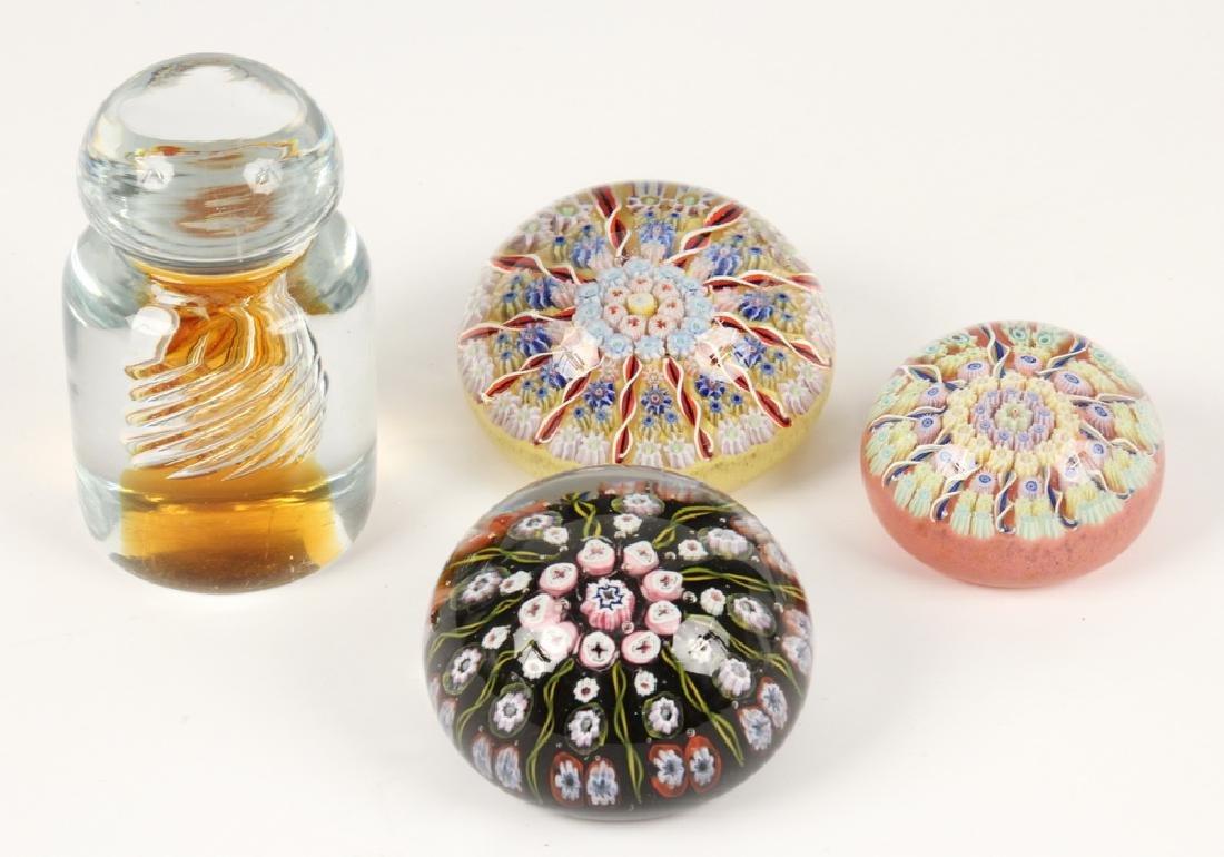 (4) ART GLASS PAPERWEIGHTS