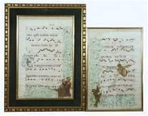 (2) FRAMED PARCHMENT MUSICAL MANUSCRIPTS