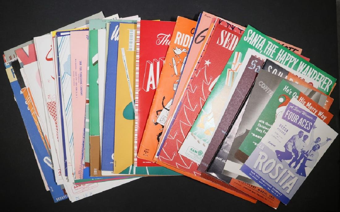 COLLECTION APPROX (60) SHEET MUSIC COVERS 1940S-60S BY