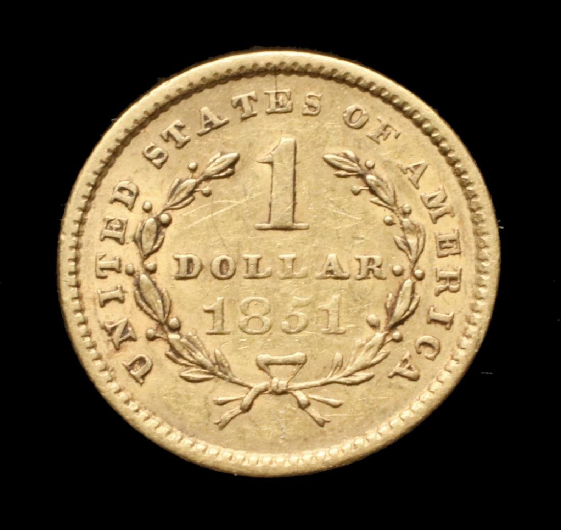 1851 Type 1 Liberty Head Gold Piece - 2
