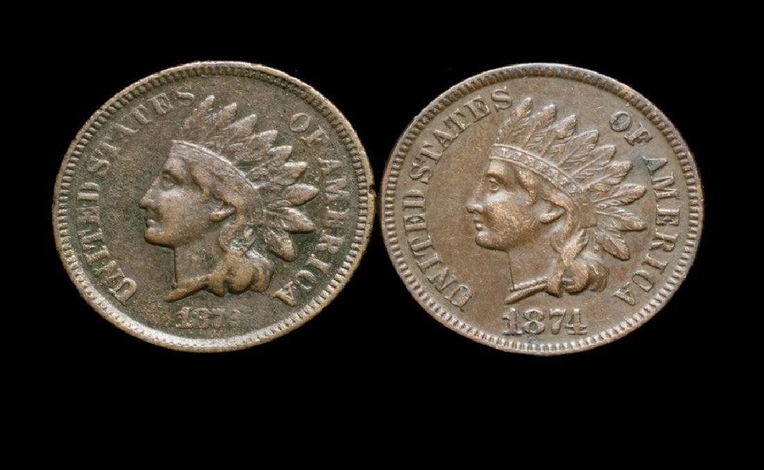 Two Semi-Key Indian Head Cents