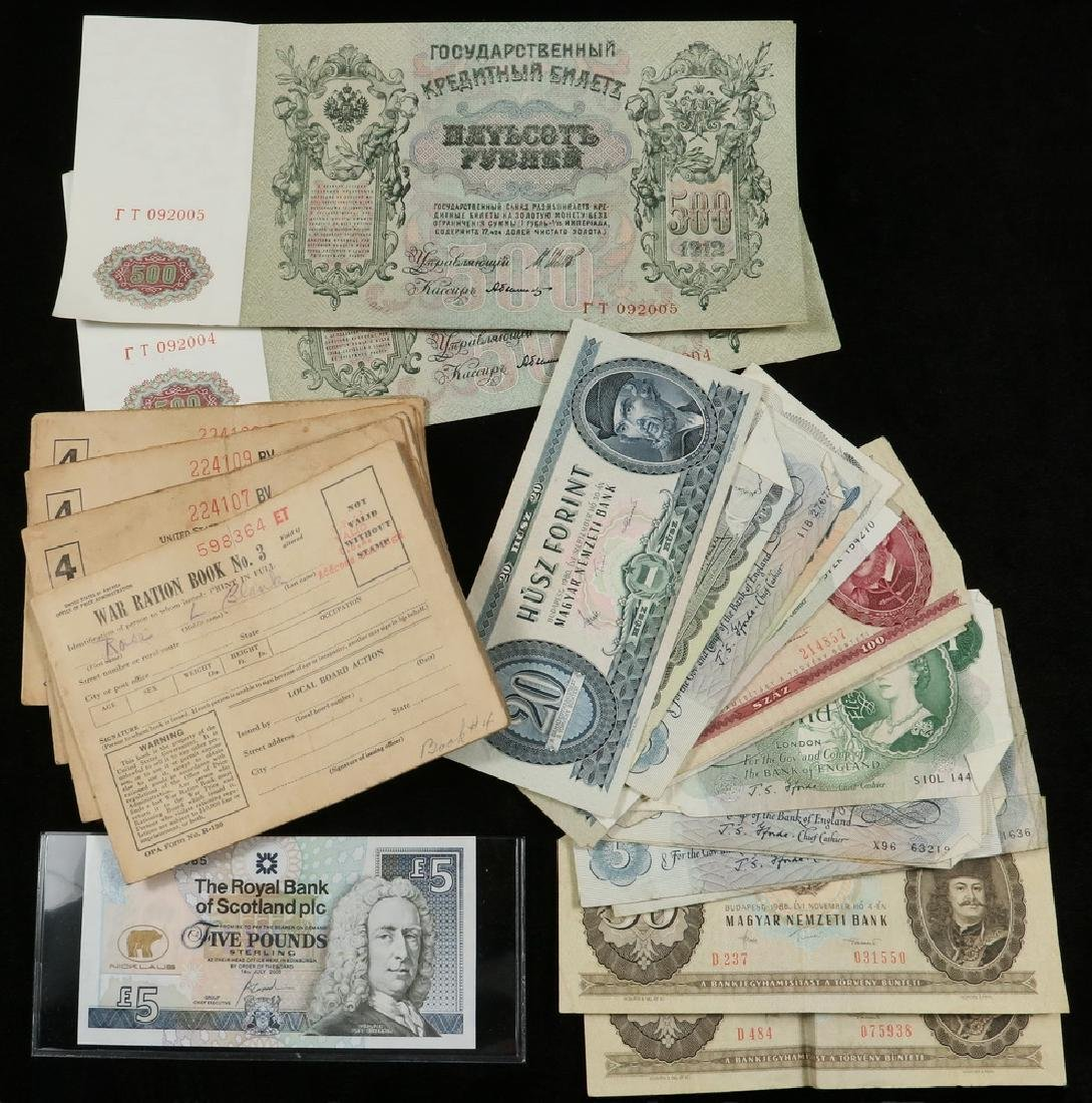 (6) War Ration Books and (25) Pieces of Foreign Paper.