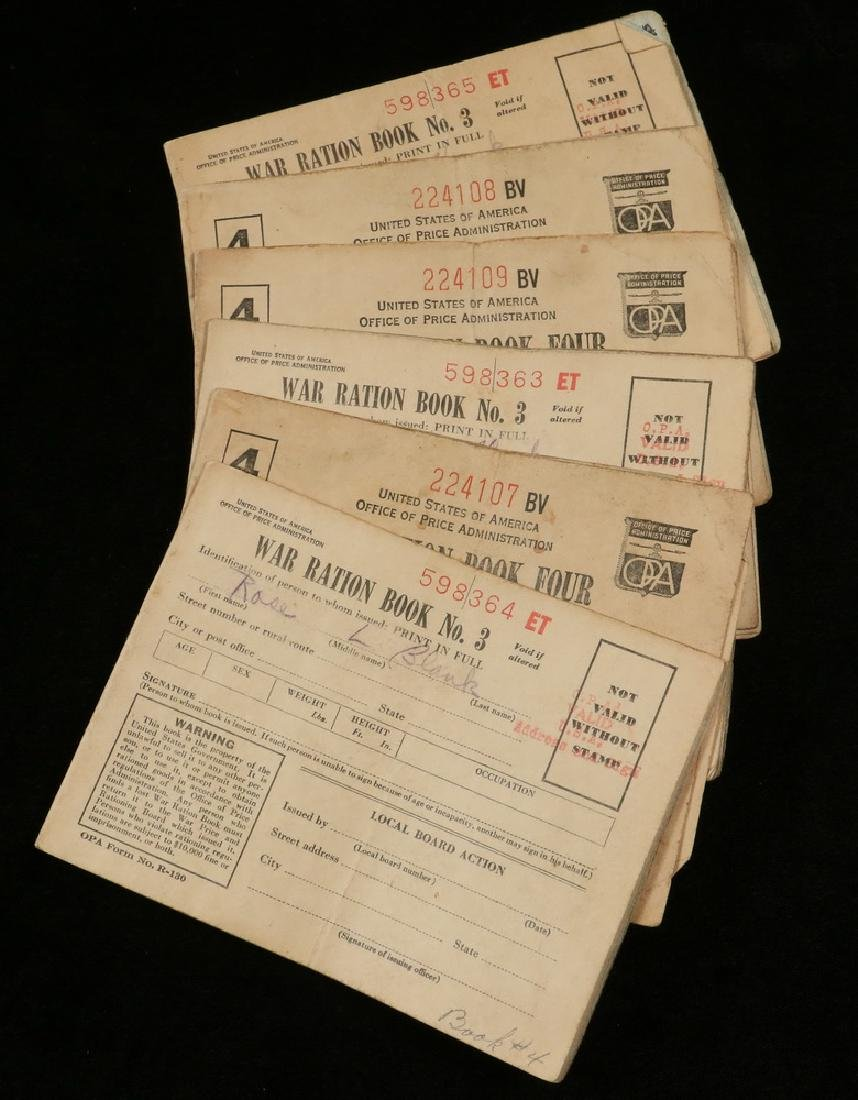 (6) War Ration Books and (25) Pieces of Foreign Paper. - 3