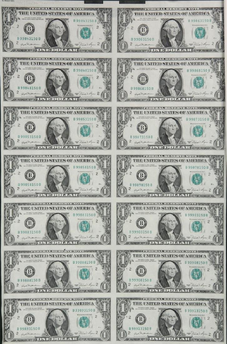 Uncut Sheet of 1981 Series United States $1.00 Bill