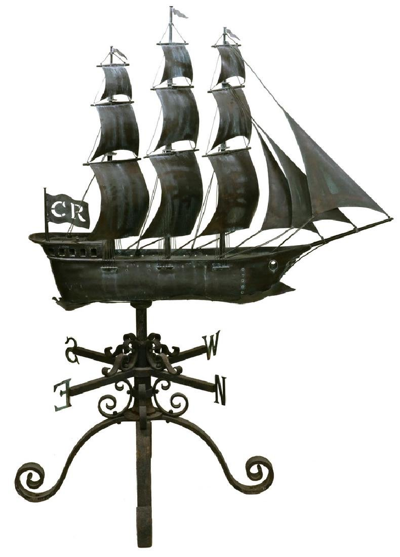 MONUMENTAL COPPER SHIP WEATHERVANE WITH WROUGHT IRON
