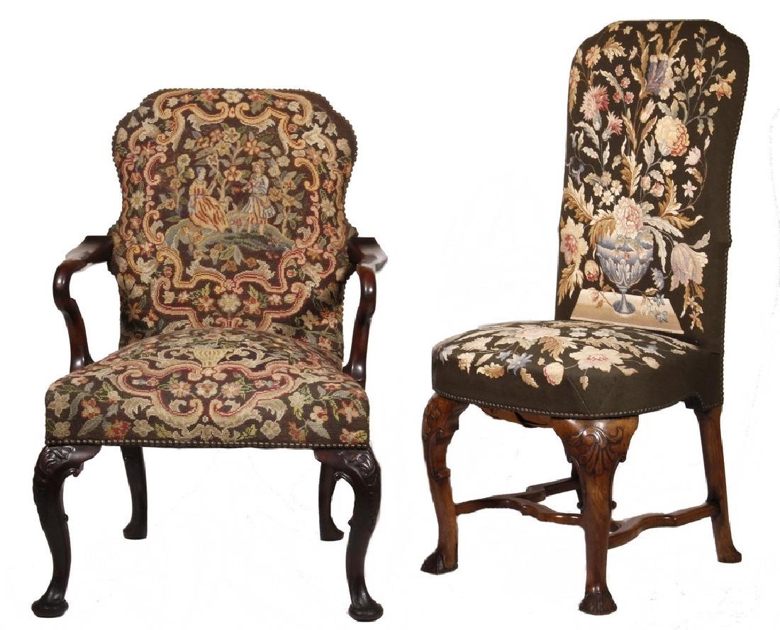 (2) SIMILAR 19TH C. QUEEN ANNE STYLE CHAIRS