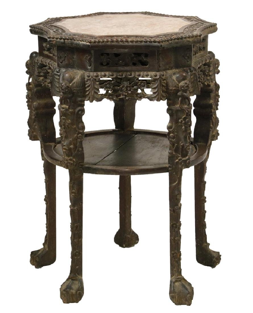 CHINESE MARBLE TOP TALL STAND