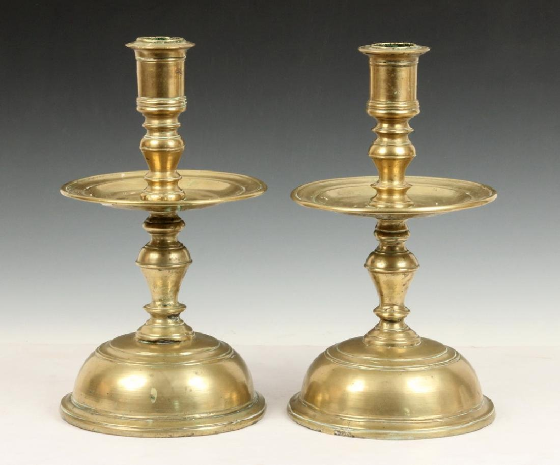 PR 17TH C. BRASS CANDLESTICKS