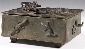 AFRICAN ASHANTI GOLD DUST BRONZE BOX, LATE 19TH C.