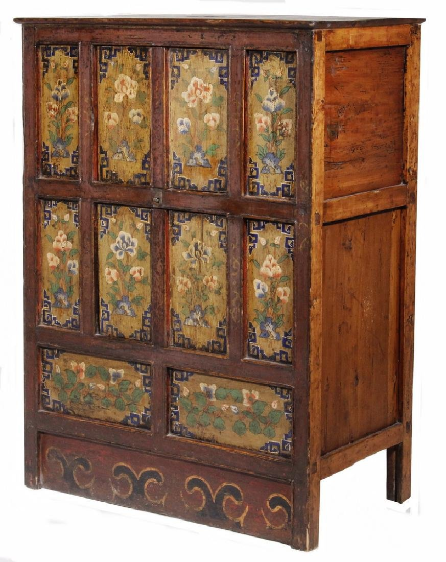TALL TIBETAN ROBE CHEST WITH PAINTED PANELS