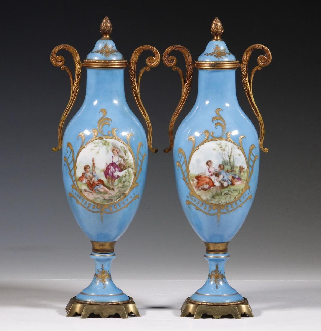PR OF SMALL SEVRES STYLE URNS