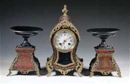 FRENCH BOULLE CLOCK & PR OF TAZZAS
