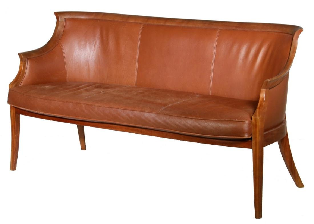 THOS MOSER CHERRY SOFA WITH LEATHER UPHOLSTERY