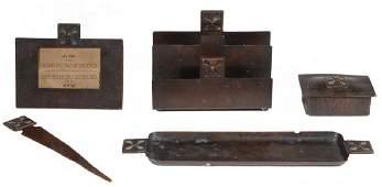 (5 PC) DIRK VAN ERP (CA, 1860-1933) HAMMERED COPPER