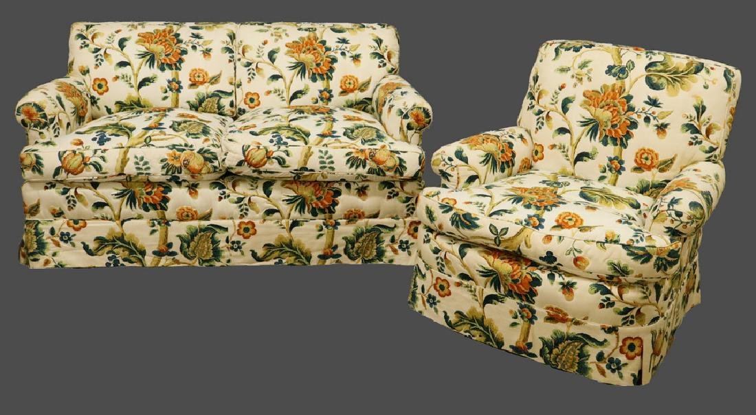20TH C. OVERSTUFFED TWO-SEATER SOFA AND ARMCHAIR