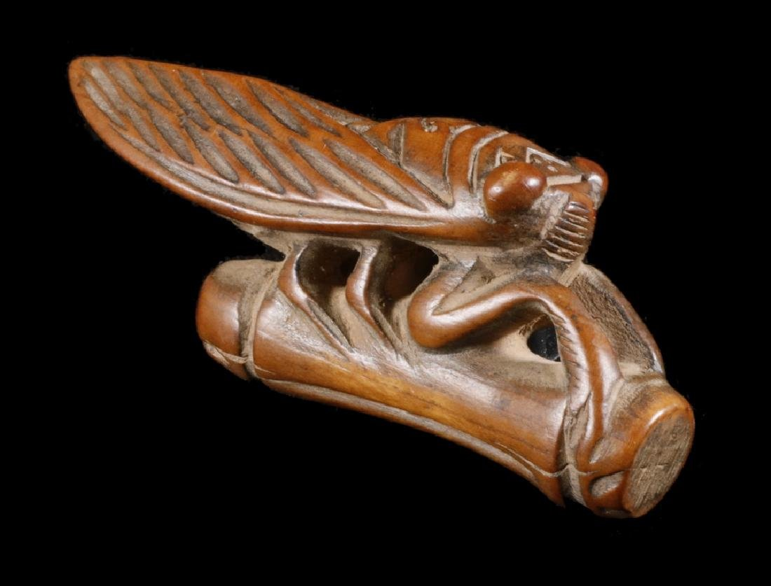 19TH C CARVED WOOD NETSUKE OF CICADA ON BAMBOO