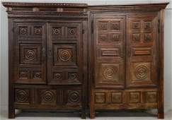 A PAIR OF 17TH C FRENCH OAK ARMOIRE FRONTS CONVERTED