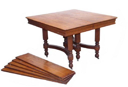 Ca 1900 Quarter Sawn Oak Dining Table With 5 Leaves