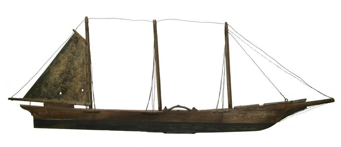 FOLK ART WOOD/METAL SHIP WEATHERVANE