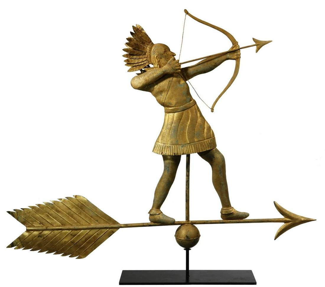 INDIAN CHIEF ARCHER WEATHERVANE, GILT COPPER, PROBABLY