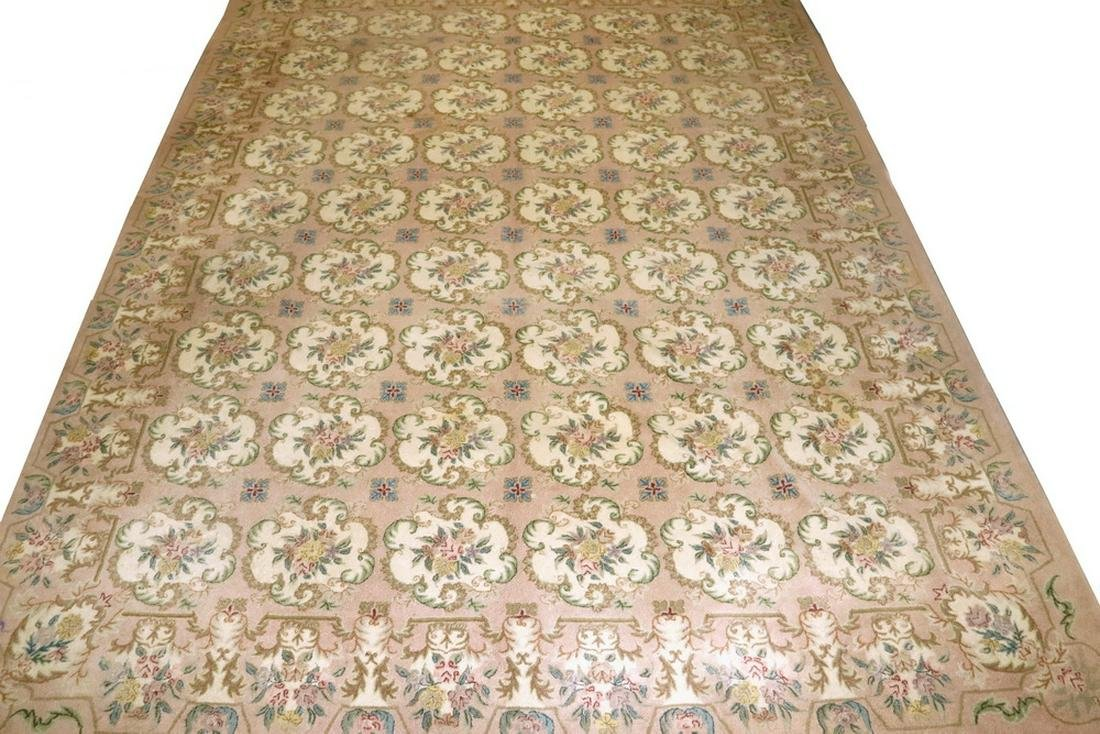 LARGE COUNTRY PETIT POINT HOOKED FLORAL RUG