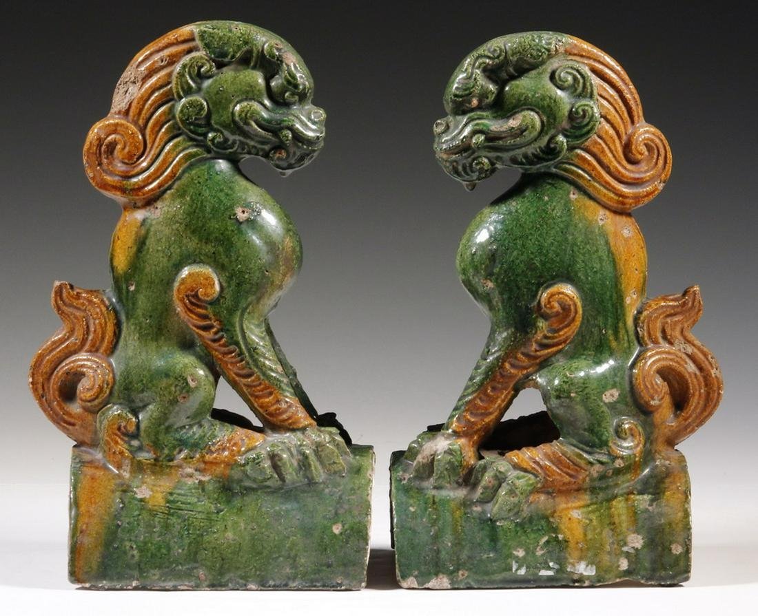 A PR OF CHINESE QING GLAZED POTTERY ROOF TILE FINIALS