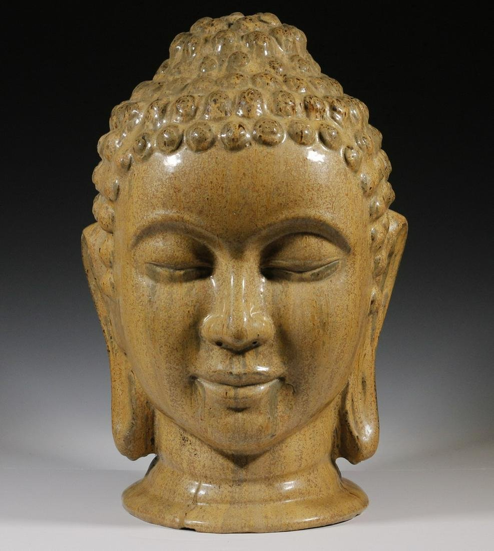 LARGE MING GLAZED POTTERY HEAD OF BUDDHA