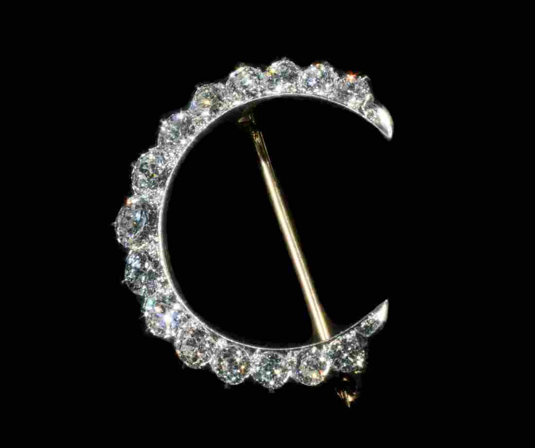 ANTIQUE 14K GOLD & DIAMOND BROOCH