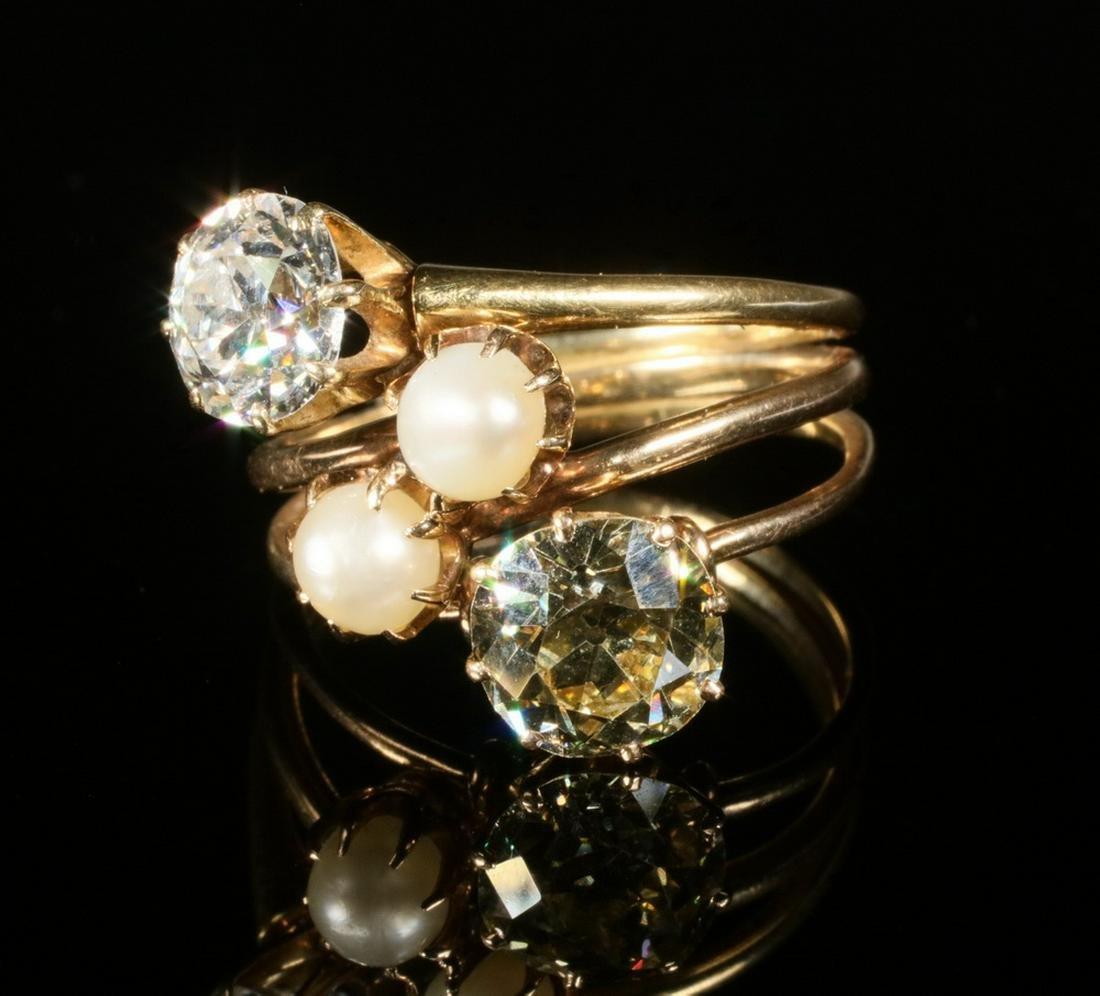 DIAMOND & PEARL TRIPLE BAND RING, 14K YELLOW & ROSE