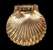 SCALLOP SHELL DESIGN BROOCH 14K YELLOW GOLD