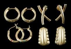 (4 PR) GOLD STUD EARRINGS