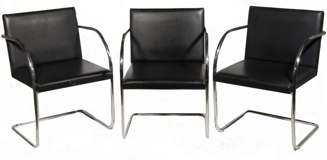 (5) LEATHER AND CHROME BRNO CHAIRS