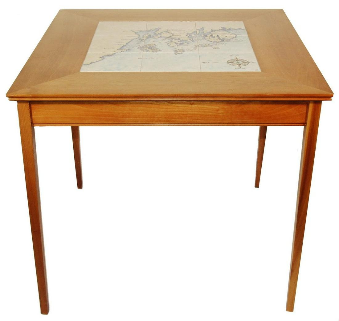 GAME TABLE WITH NAUTICAL CHART TILE CENTER