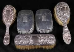 5 STERLING HANDLED BRUSHES